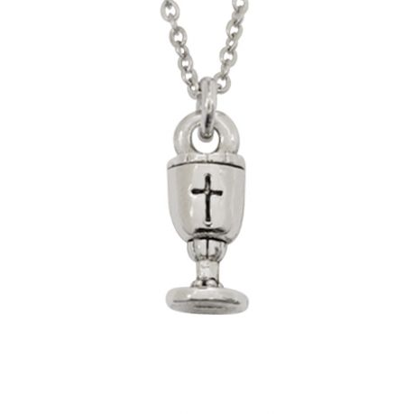 Christian Necklace - First Communion Cup w/Cross