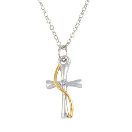 Cross Necklace -Two-Tone with Swash and CZ