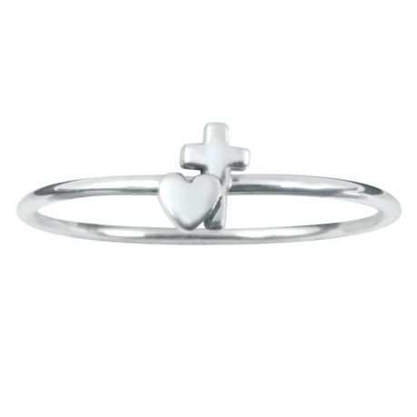 Sterling Silver Stackable Ring - Heart w/Cross