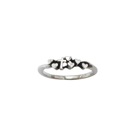 Sterling Silver Ladies' Cross Christian Ring - Tiny w/ Hearts