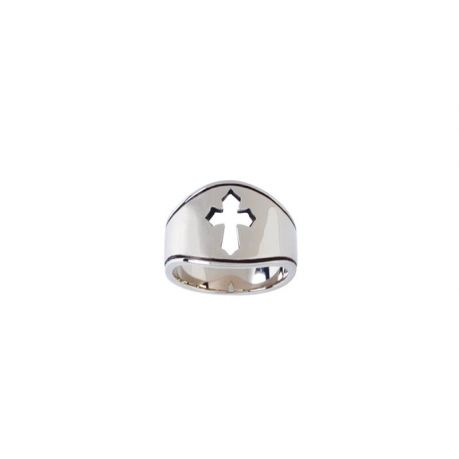 Sterling Silver Ladies' Cross Christian Ring - Pierced Cut-Out