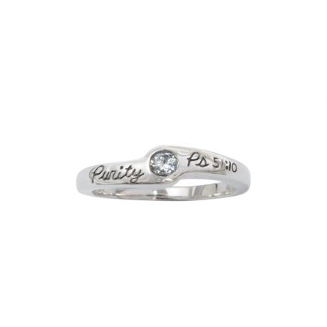 Sterling Silver Ladies' Purity Ring - Psalm 51:10