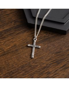 Sterling Silver Cross Necklace - Rugged Wood Cross