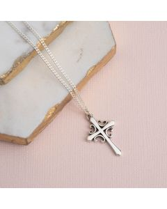 Sterling Silver Cross Necklace - French