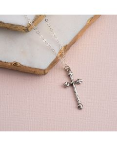 Sterling Silver Cross Necklace - Textured Budding Cross
