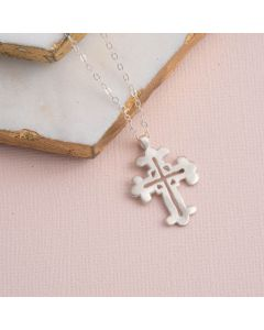 Sterling Silver Cross Necklace - Three-Tipped Wide Cross