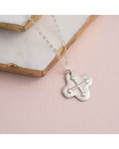 Sterling Silver Cross Necklace - Embossed Budding