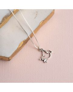 Sterling Silver Dove Necklace - Open with Olive Branch
