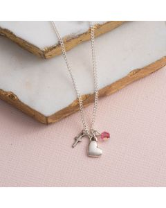 Sterling Silver Heart Charm Necklace w/Cross and Bead