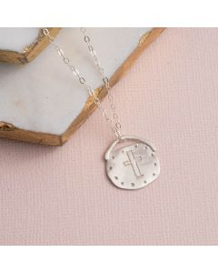 Sterling Silver Cross Necklace - Handmade Circle