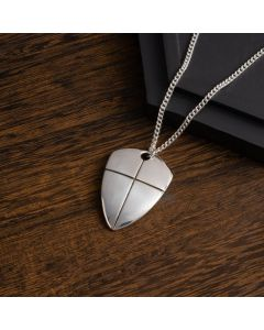 Sterling Silver Necklace - Shield of Faith Large