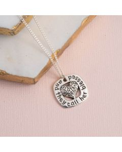 Sterling Silver Heart Necklace - They Call Her Blessed