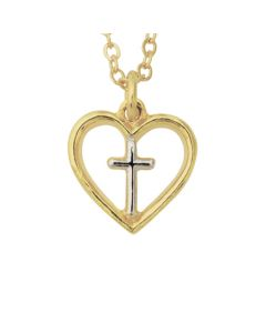 Christian Necklace - Two-Tone Heart with Cross
