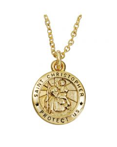 Christian Necklace - Small Saint Christopher Medal