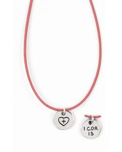 Christian Necklace - Heart with Cross/1 Cor. 13