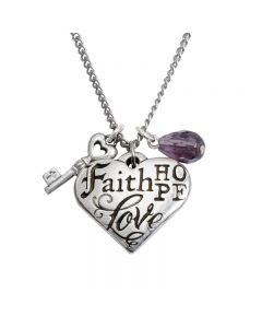 Christian Necklace - Faith Hope Love Heart w/Key