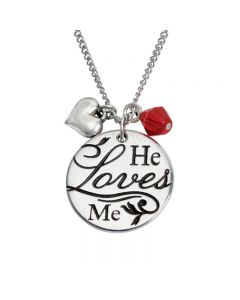 Christian Necklace - He Loves Me w/Puffy Heart