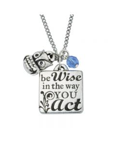 Christian Necklace - Be Wise w/Owl