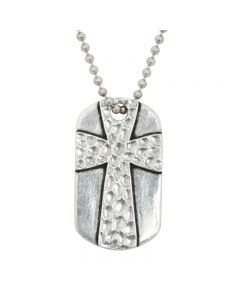 Christian Necklace - J.C.I.D. Hammered Cross Tag