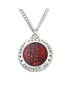 Christian Necklace - Large Saint Christopher-Red