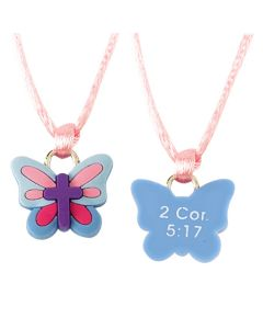 Christian Necklace - Butterfly with Cross/2Cor. 5:15