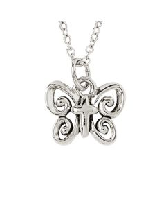 Christian Necklace - Butterfly with Cross