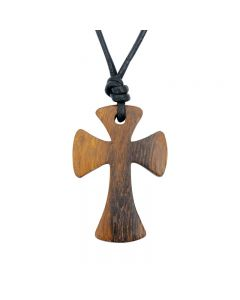 Wood Cross Necklace - Large Flared
