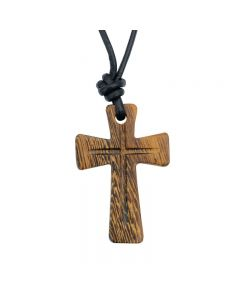 Wood Cross Necklace - Large Recessed Center
