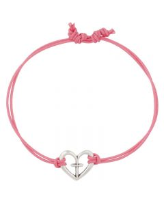 Fashion Christian Bracelet - Open Heart with Cross