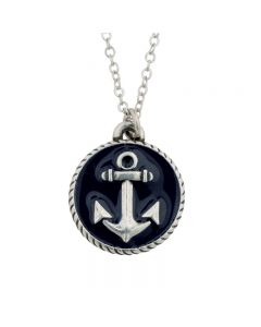 Fashion Christian Necklace - Anchor with Blue / Hebrews 6:19