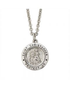 Christian Necklace - Medium Saint Christopher Round Medal