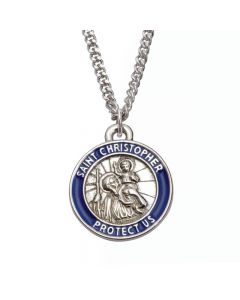 Christian Necklace - Saint Christopher Medal w/Blue