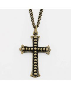 Christian Necklace - Studded Flared Ends Cross