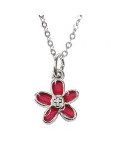 Children's Christian Necklace - Flower w/Cross