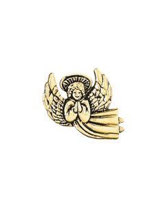 Angel Lapel Pin - Gold Praying/Flying