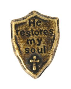 Brass Plated Lapel Pin - He Restores my Soul Shield