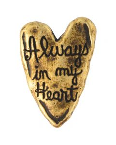 Brass Plated Lapel Pin - Heart/Always In My Heart