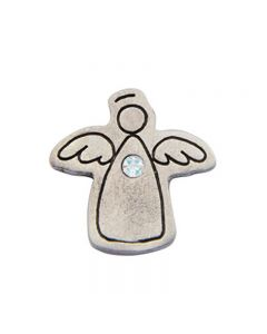 Birthstone Colored Lapel Pin - Angel-October