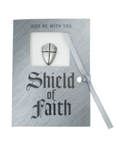 Pewter Message Card - Shield of Faith Pin