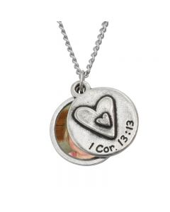 Christian Necklace - Heart/1 Cor. 13:13 Frame