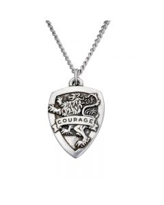 Christian Necklace - Courage Shield/Joshua 1:9