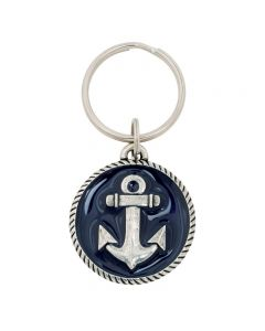 Pewter Keychain - Anchor w/ Blue / Hebrews 6:19
