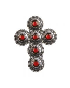Cross Visor Clip - Red Concho Cross