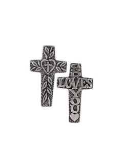 Pewter Cross Pocket Token - God Loves You