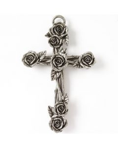 Pewter Wall Cross - Rose