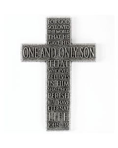 Pewter Wall Cross - 3:16