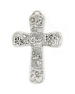Pewter Wall Cross - Bless Our Baby