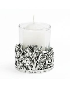 Pewter Votive Candle - Lilies/Psalm 118:24
