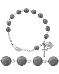 Genuine Hematite Rosary Bracelet - With The Miraculous Medal