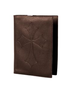 Brown Leather Flared Cross Bible Cover